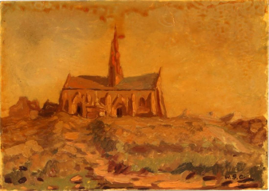 WINSTON CHURCHILL LANDSCAPE  OIL ON BOARD