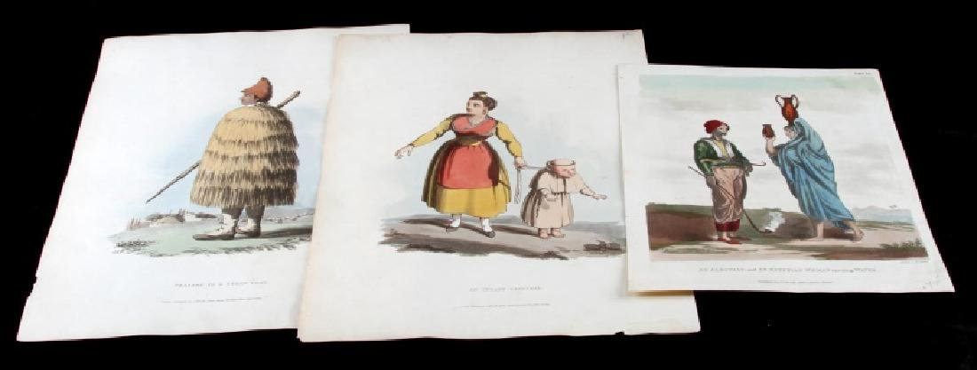 LOT OF 3 ANTIQUE COLORED ENGRAVINGS JOHN WALSH