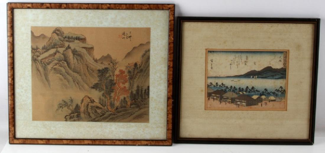 LOT OF TWO JAPANESE LANDSCAPE PAINTINGS