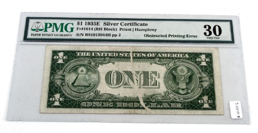 ERROR NOTE 1935 SILVER CERTIFICATE OBSTRUCTED PRIN