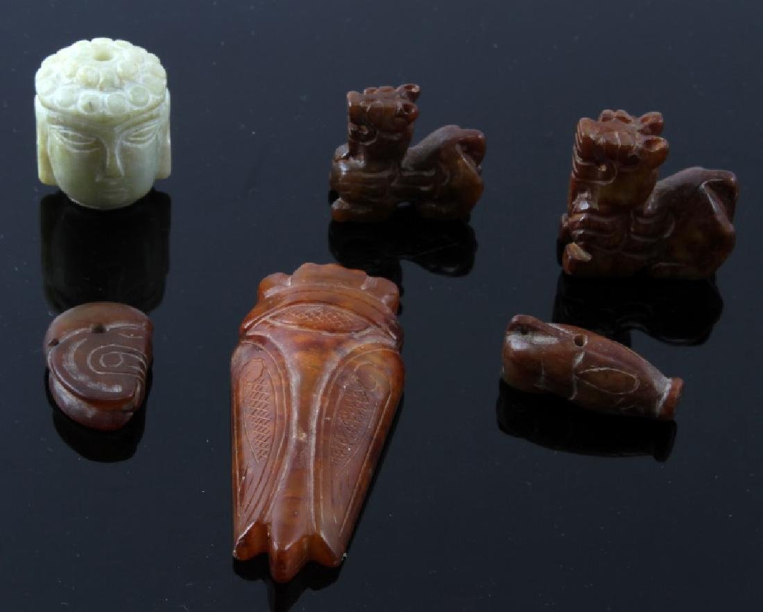 6 PIECE MIX LOT CARVED JADE TRINKETS AND PENDANTS