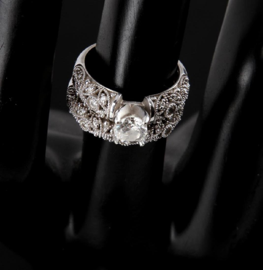14KT WHITE GOLD DIAMOND RING WEDDING SET .75 TCW