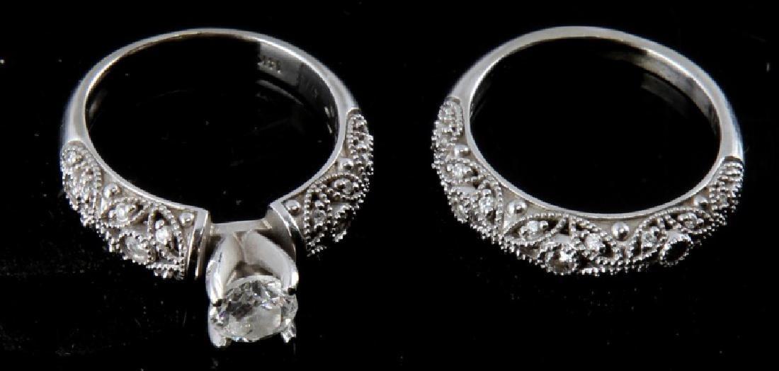 14KT WHITE GOLD DIAMOND RING WEDDING SET .75 TCW - 4