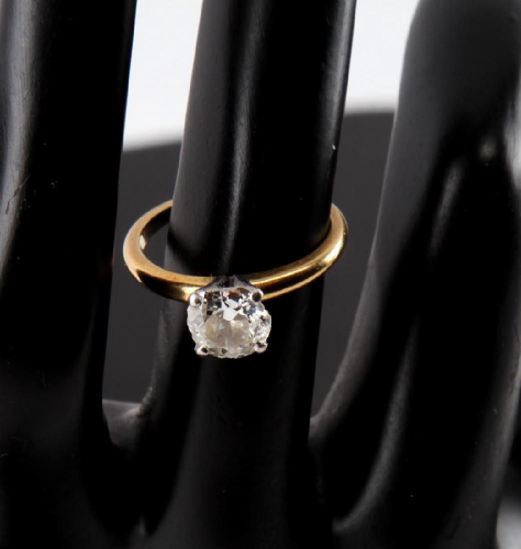SOLITAIRE RD DIAMOND 18KT GOLD PLATINUM RING 1.25