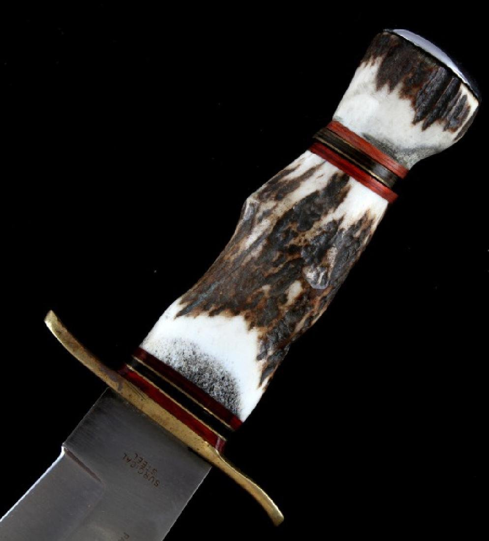 BOWIE KNIFE MADE IN PAKISTAN STAG HANDLE W SHEATH