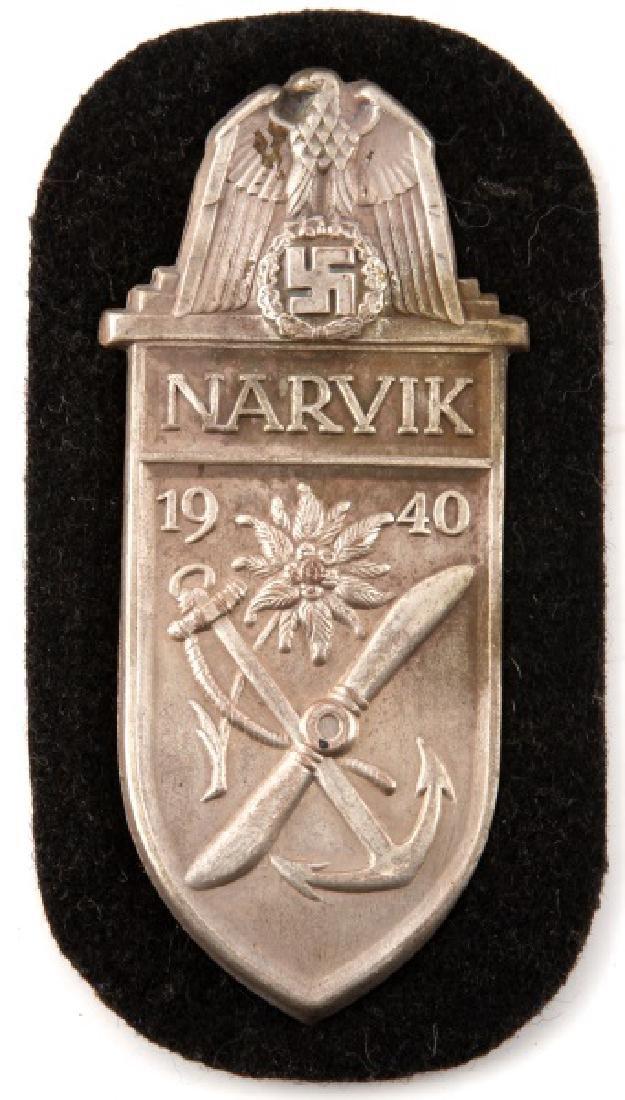 WWII GERMAN KRIEGSMARINE NARVIK SHIELD SILVER BLK