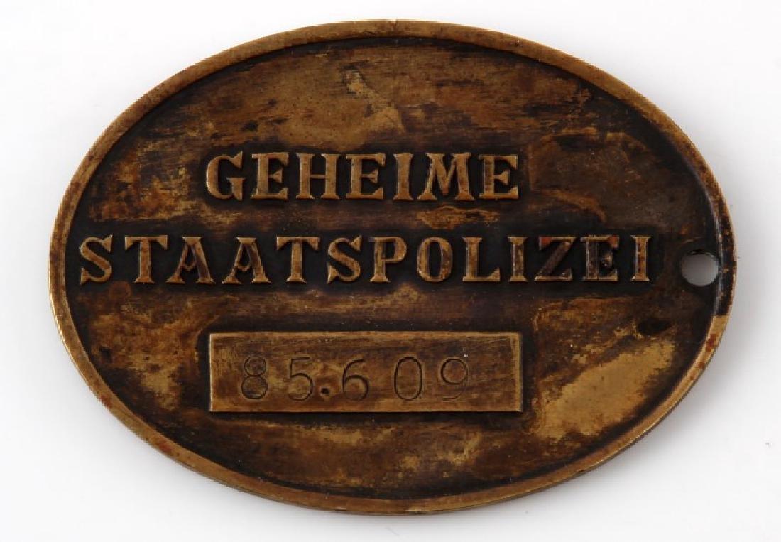 WWII GERMAN 3RD REICH STATSPOLIZEI GESTAPO ID DISK - 2
