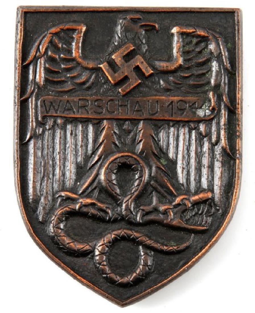 WWII GERMAN 1944 WARSCHAU SHIELD AWARD PLAQUE