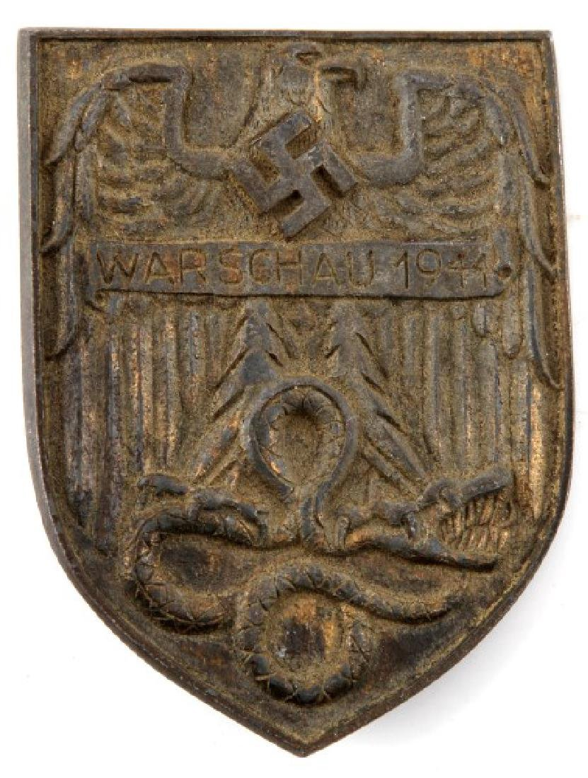 WWII GERMAN 1944 WARSCHAU SHIELD AWARD PLAQUE