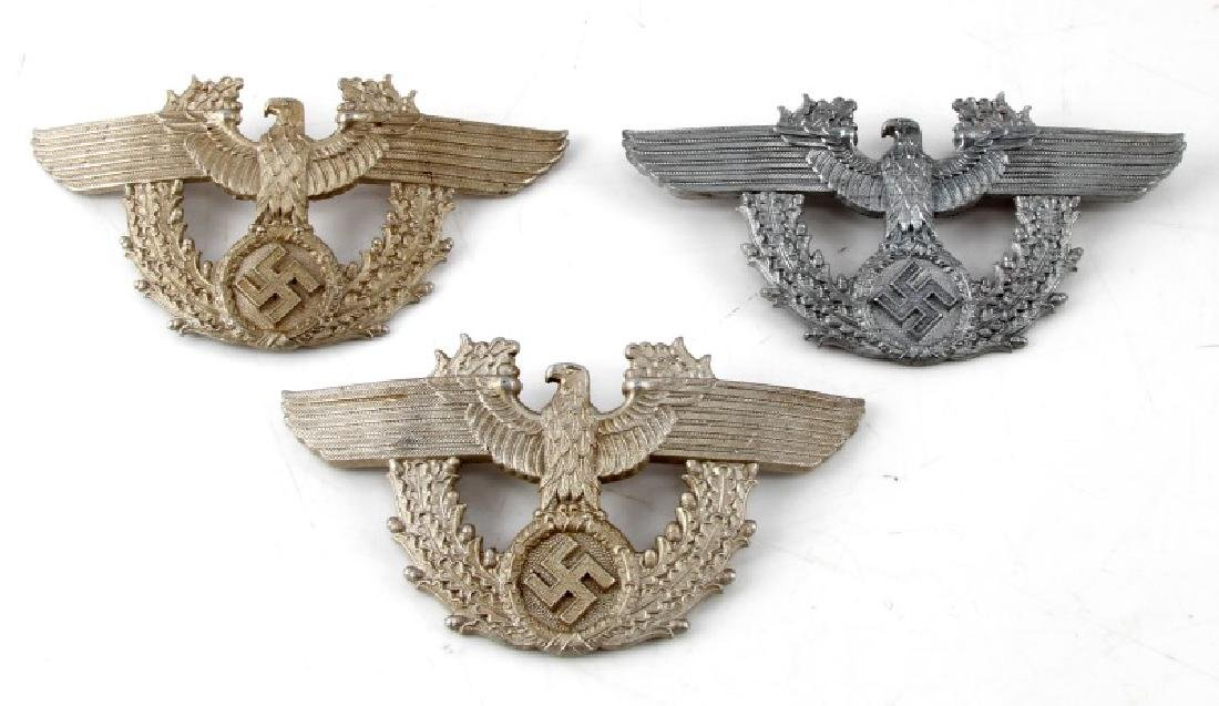 LOT OF 3 WWII GERMAN THIRD REICH HELMET PLAQUES