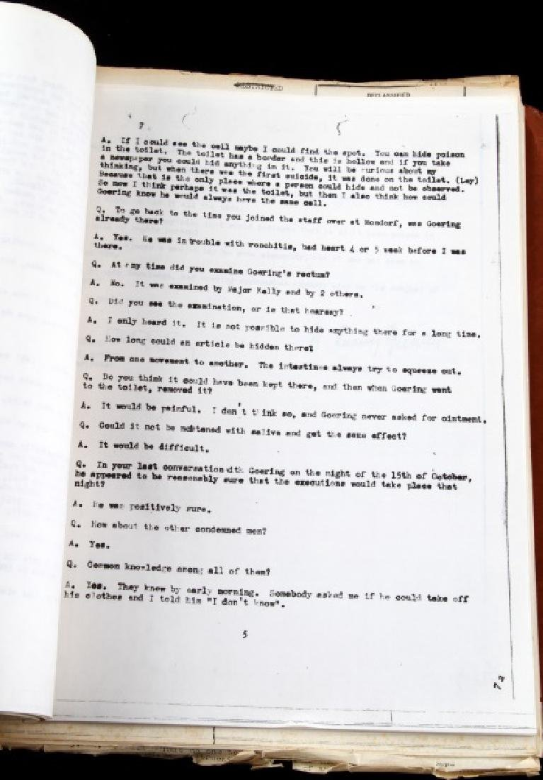 WWII HERMANN GOERING GORING SUICIDE REPORT US ARMY - 7