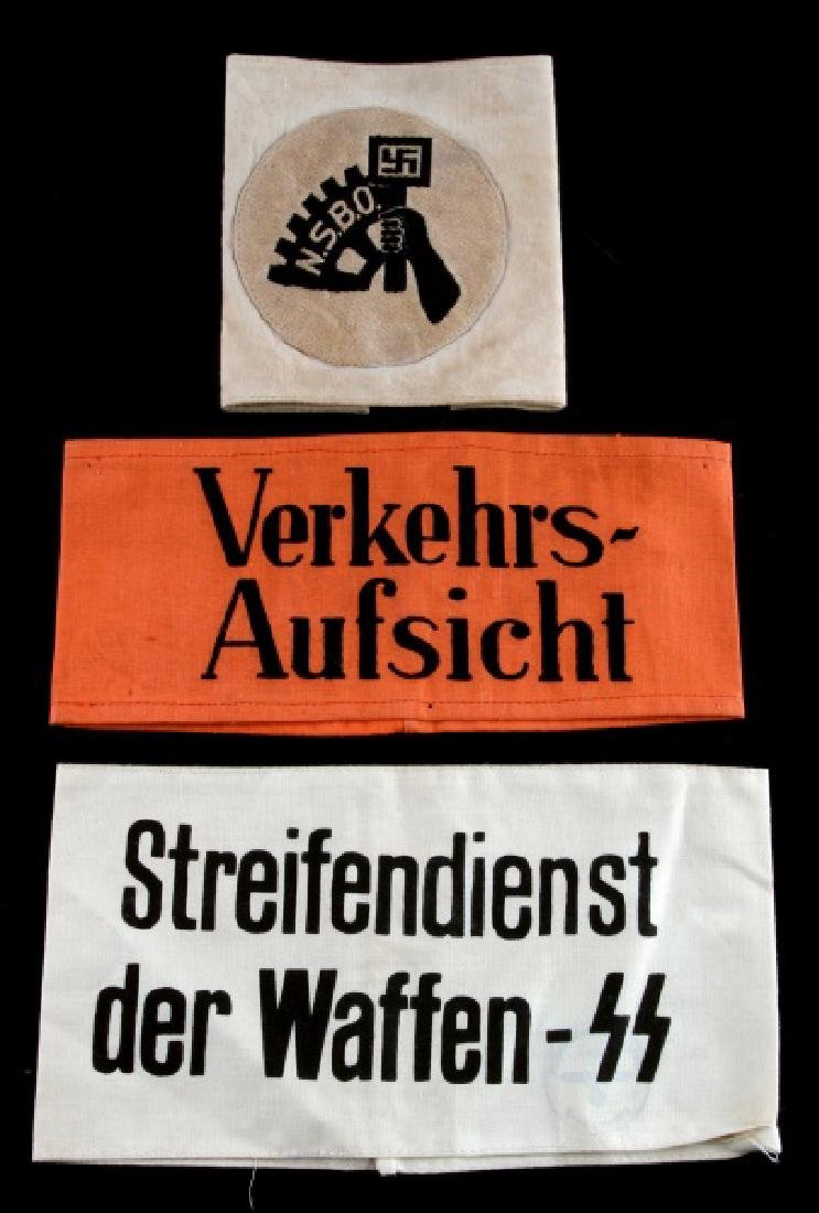 3 WWII GERMAN 3RD REICH VARIOUS  ARM BANDS