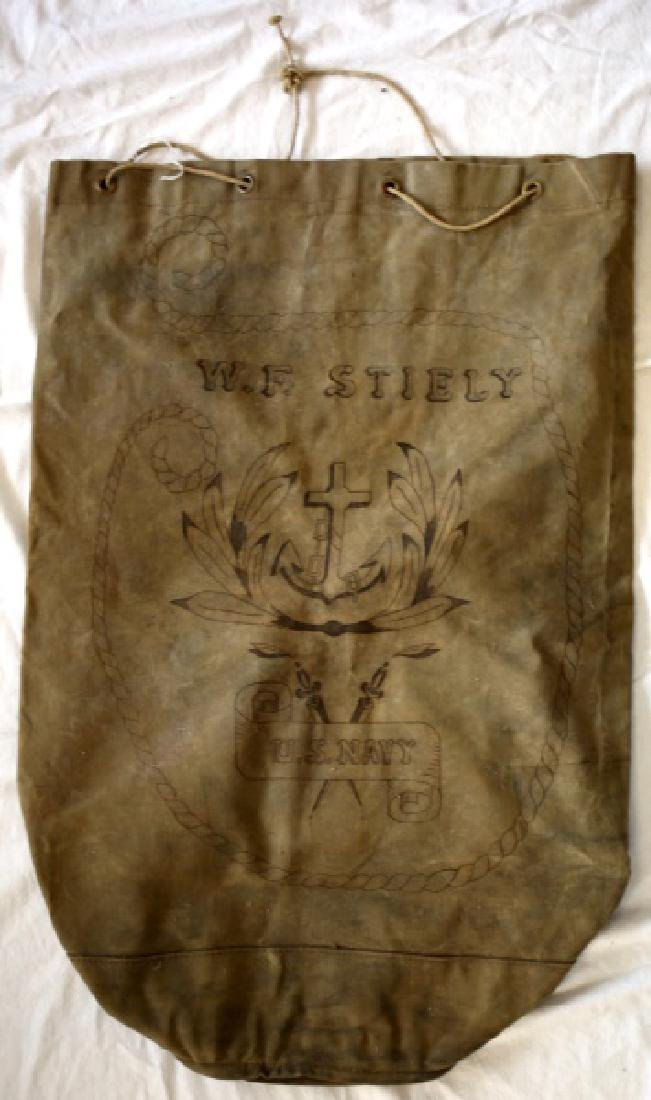 ANTIQUE U.S NAVY ISSUE NAMED CANVAS DUFFEL SACK