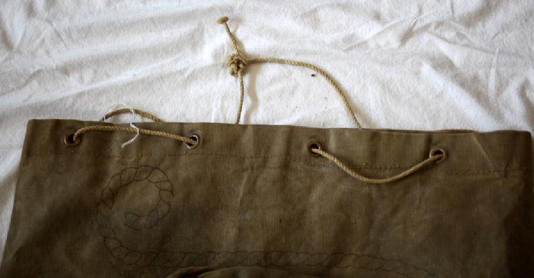 ANTIQUE U.S NAVY ISSUE NAMED CANVAS DUFFEL SACK - 4