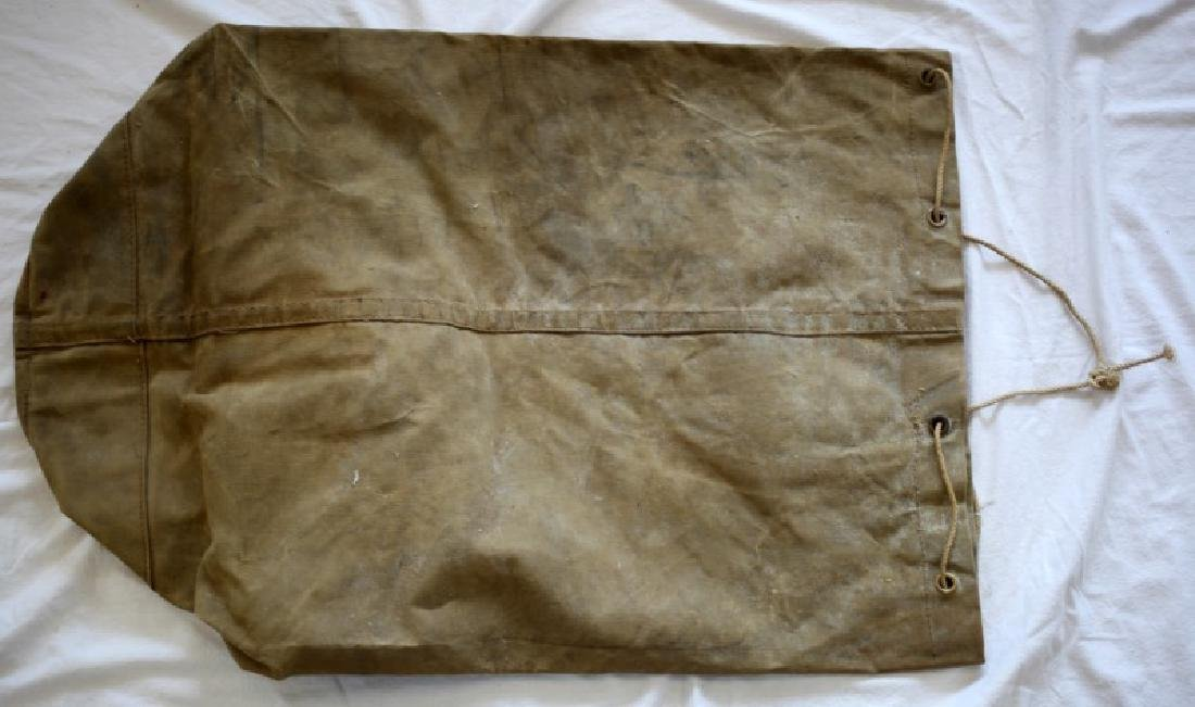 ANTIQUE U.S NAVY ISSUE NAMED CANVAS DUFFEL SACK - 5
