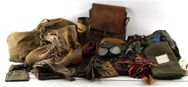 WWII US MILITARY LOT BOOTS BAG TRENCH ART BELTS