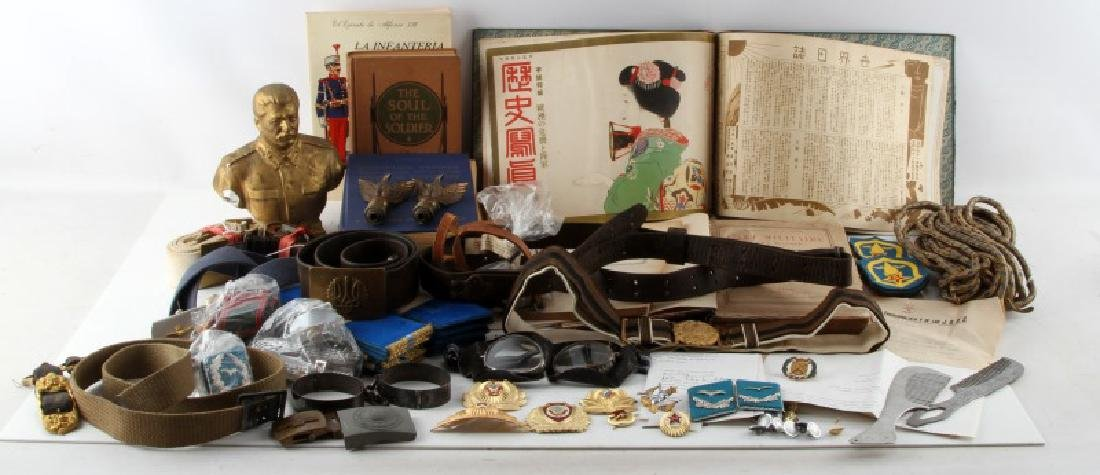 MIXED FOREIGN MILITARY LOT BELTS BOOKS INSIGNIA
