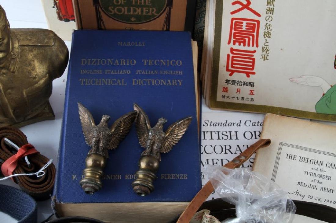 MIXED FOREIGN MILITARY LOT BELTS BOOKS INSIGNIA - 2