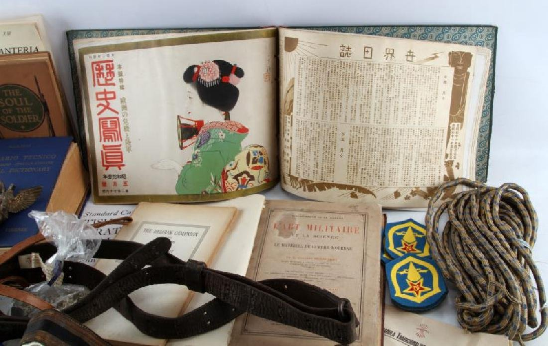 MIXED FOREIGN MILITARY LOT BELTS BOOKS INSIGNIA - 4