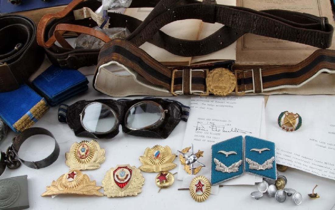 MIXED FOREIGN MILITARY LOT BELTS BOOKS INSIGNIA - 5