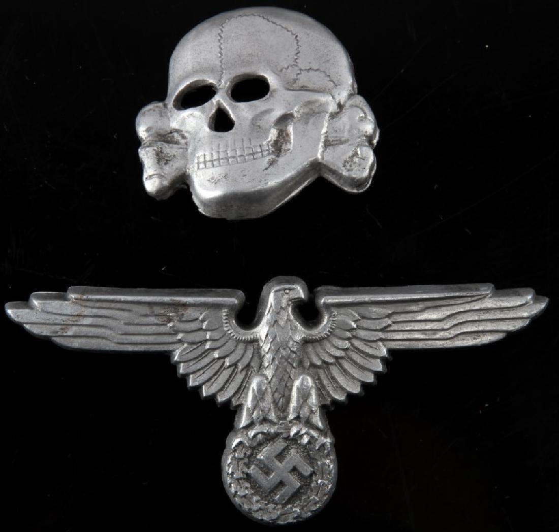 WWII GERMAN 3RD REICH SS VISOR CAP EAGLE AND SKULL