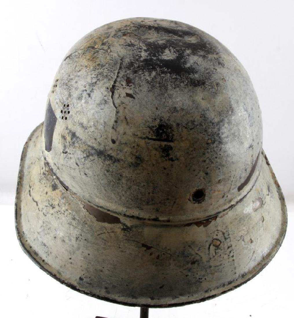 WWII GERMAN THIRD REICH PAINTED LUFTSCHUTZ HELMET - 4