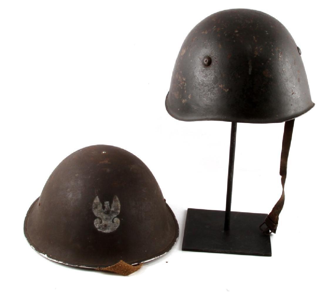 LOT OF 2 POLISH POST WWII WZ67 HELMETS