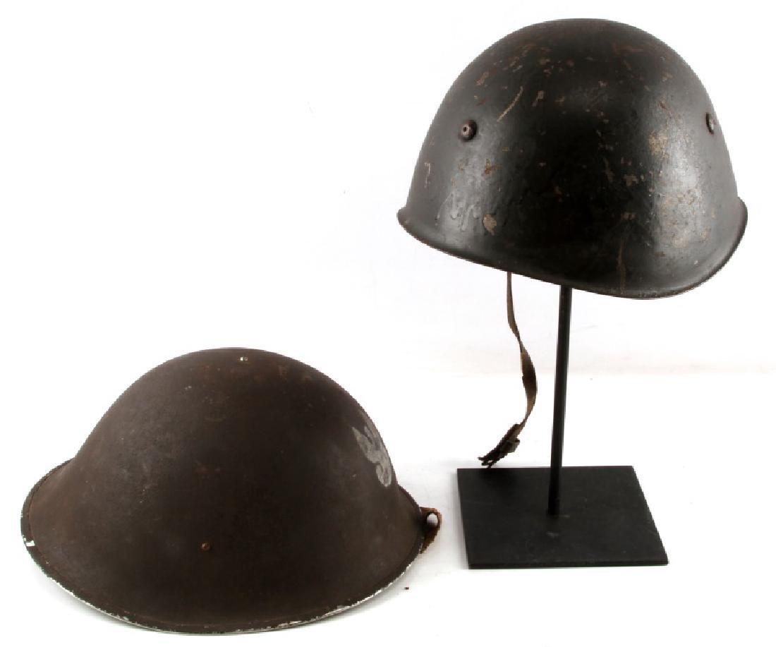 LOT OF 2 POLISH POST WWII WZ67 HELMETS - 4