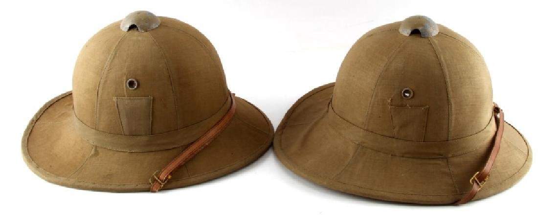 WWII LOT TWO ITALIAN FASCIST PITH HELMETS - 2