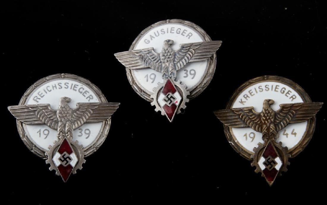 3 GERMAN THIRD REICH HITLER JUGEND BADGES