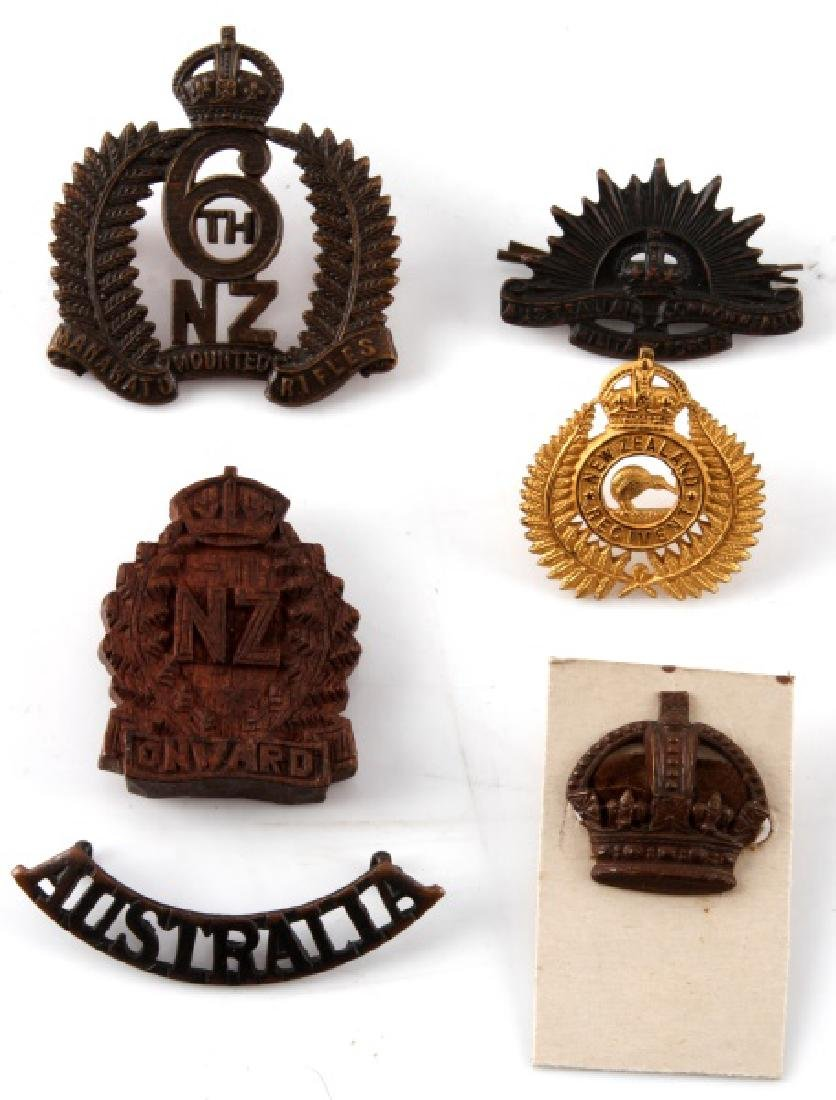 LOT OF 6 AUSTRALIAN & NEW ZEALAND CAP BADGES