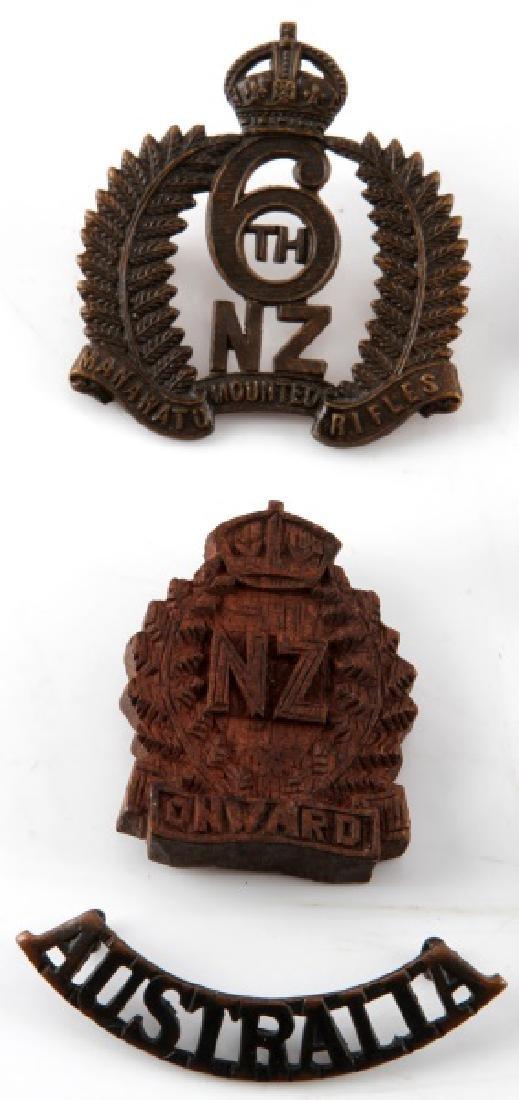 LOT OF 6 AUSTRALIAN & NEW ZEALAND CAP BADGES - 2
