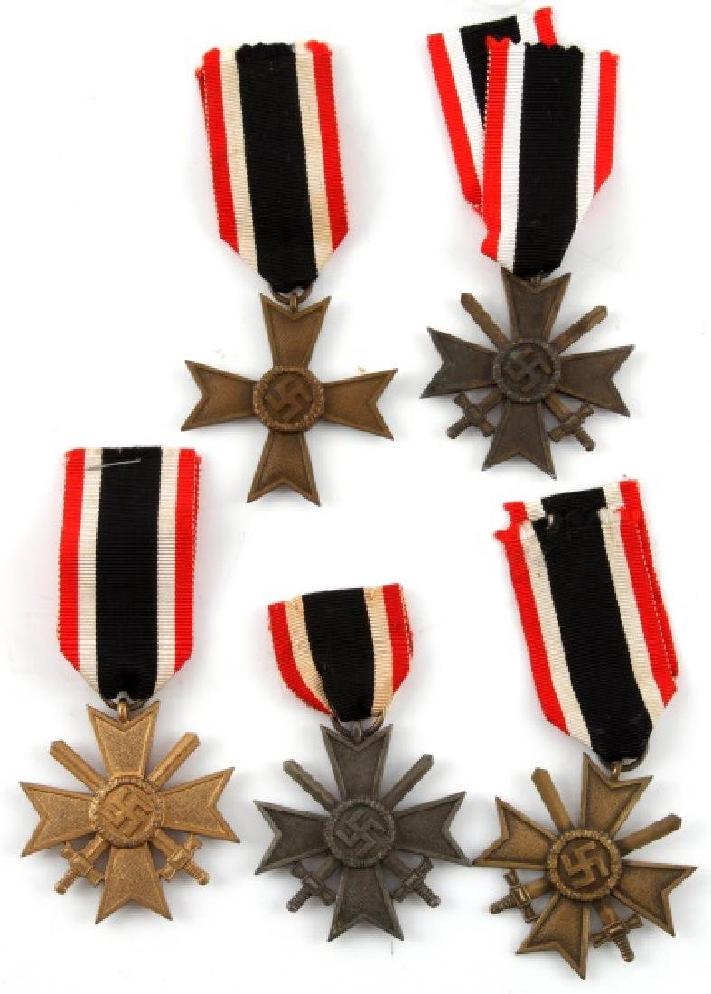 5 GERMAN WWII MERIT CROSS LOT WITH RIBBONS