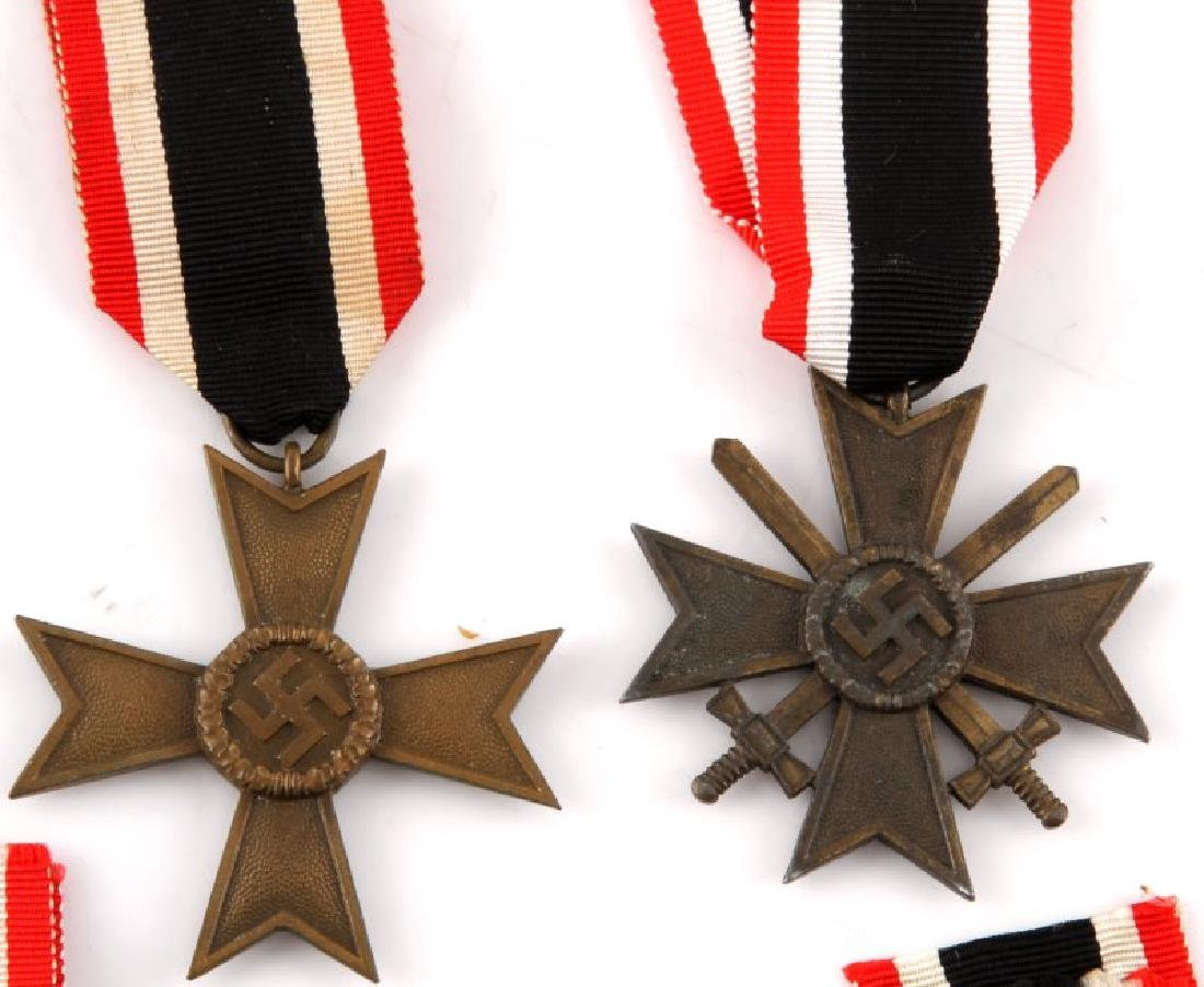 5 GERMAN WWII MERIT CROSS LOT WITH RIBBONS - 3