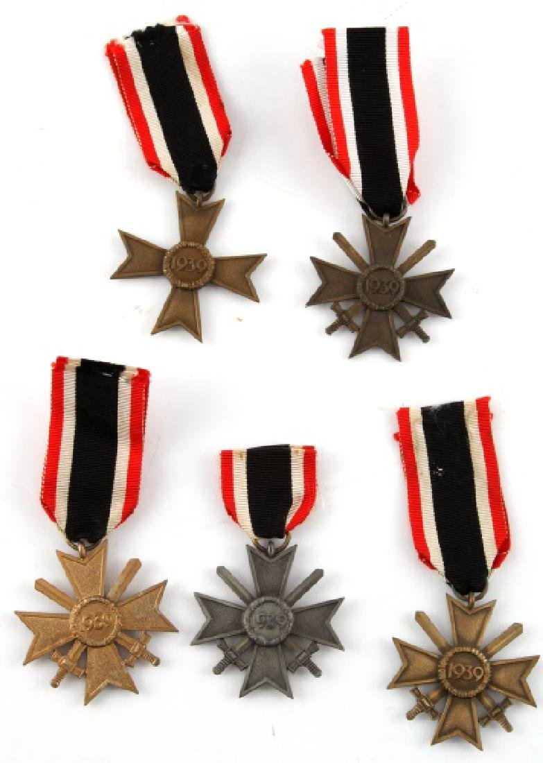5 GERMAN WWII MERIT CROSS LOT WITH RIBBONS - 4