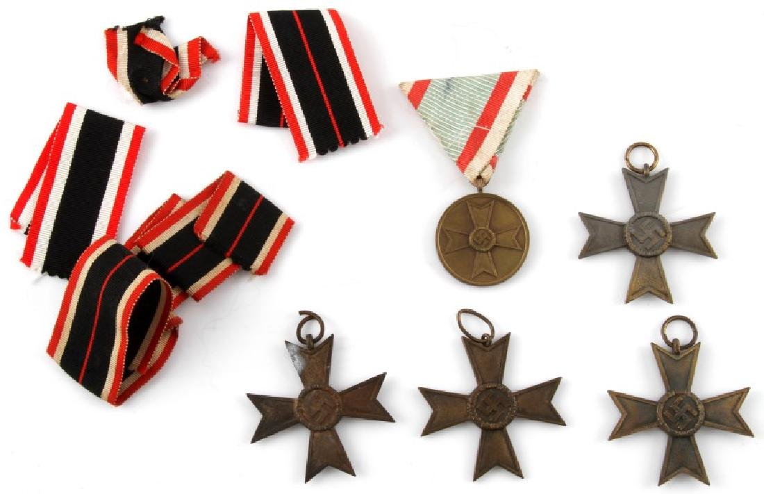 5 GERMAN WWII WAR MERIT MEDALS AND RIBBONS BRONZE