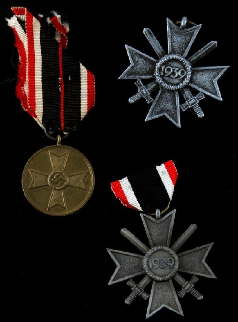 3 GERMAN WWII WAR MERIT MEDALS SILVER AND BRONZE