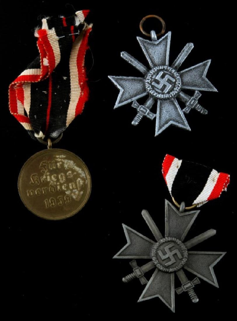 3 GERMAN WWII WAR MERIT MEDALS SILVER AND BRONZE - 2