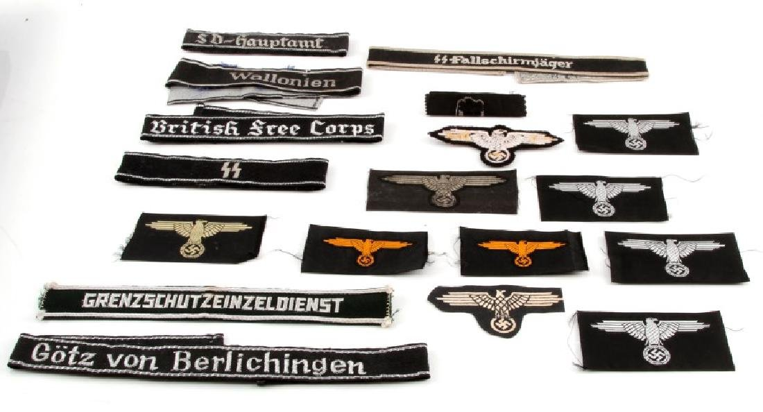 ASSORTED THIRD REICH WAFFEN SS BADGES AND PATCHES