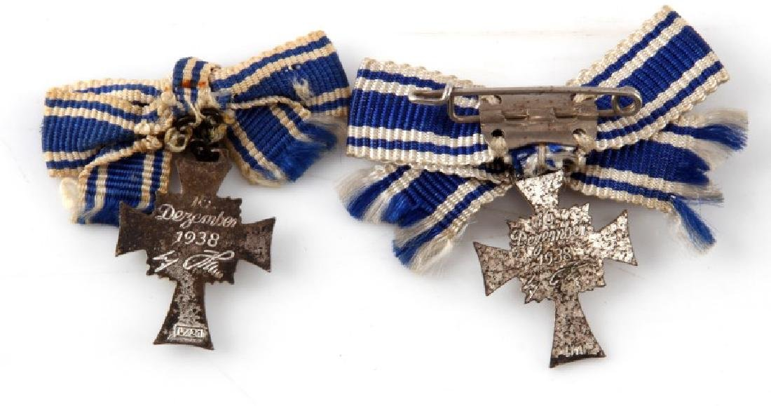 GERMAN WWII 2 SILVER MINIATURE MOTHERS CROSSES - 2
