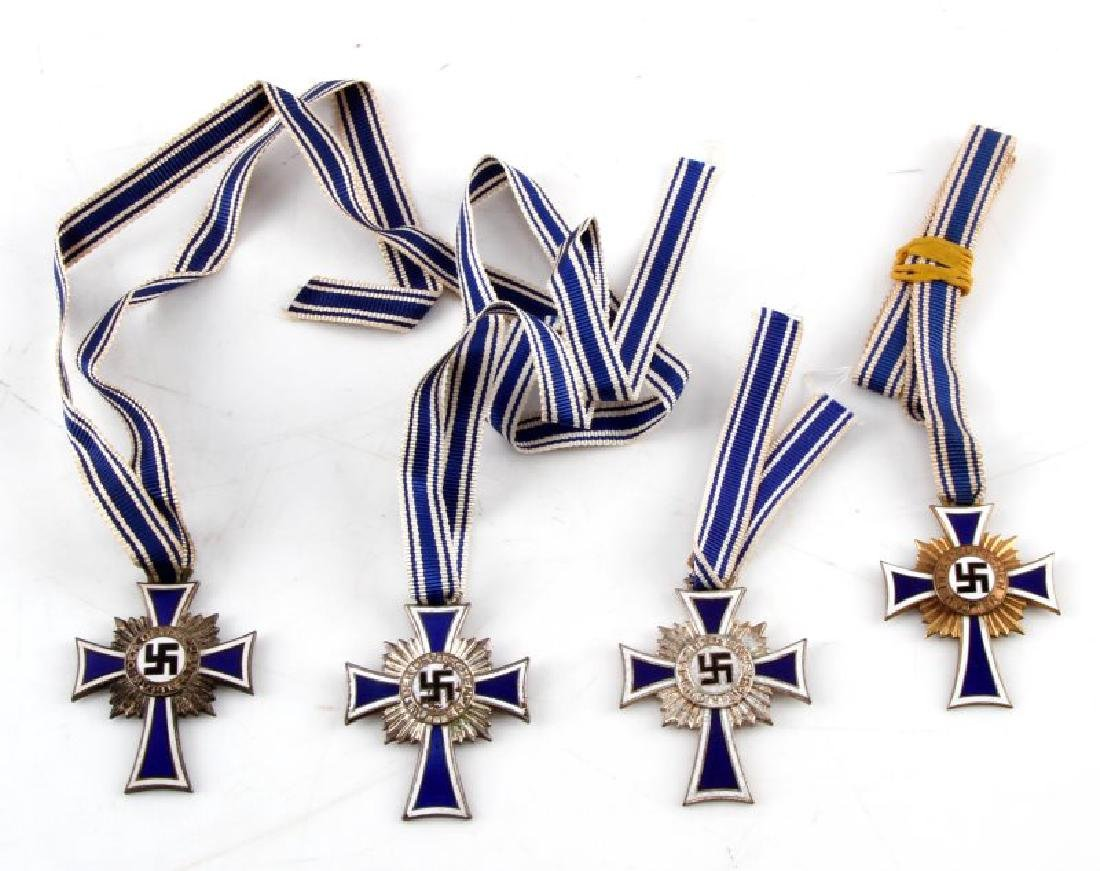 4 GERMAN WWII MOTHERS CROSSES WITH RIBBONS