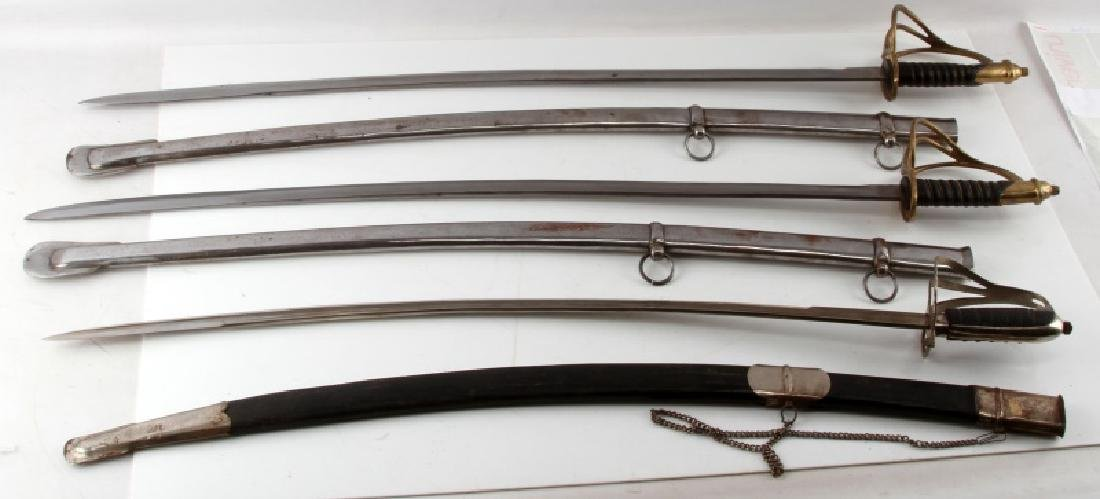 LOT OF 3 1840 CAVALRY DRAGOON SABERS W SHEATHS