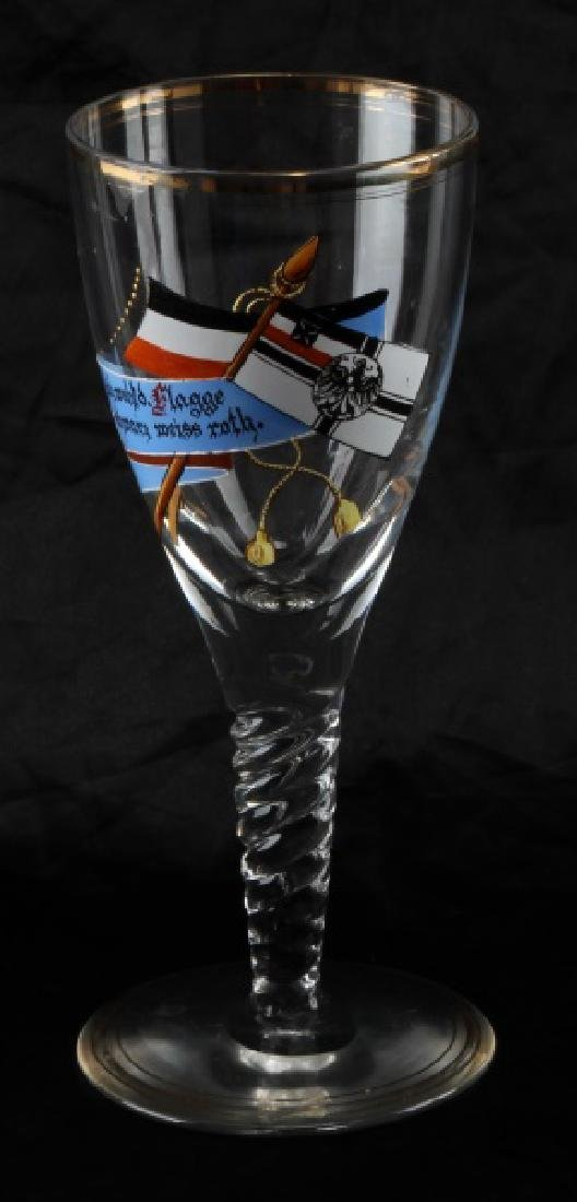 WWII GERMAN HAND PAINTED REICHSKRIEGSFLAGGE GLASS