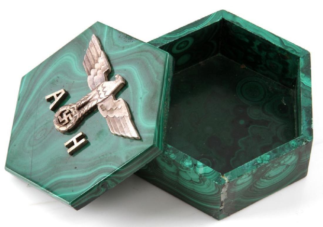 ADOLF HITLER MALACHITE TRINKET BOX GERMAN WWII - 3