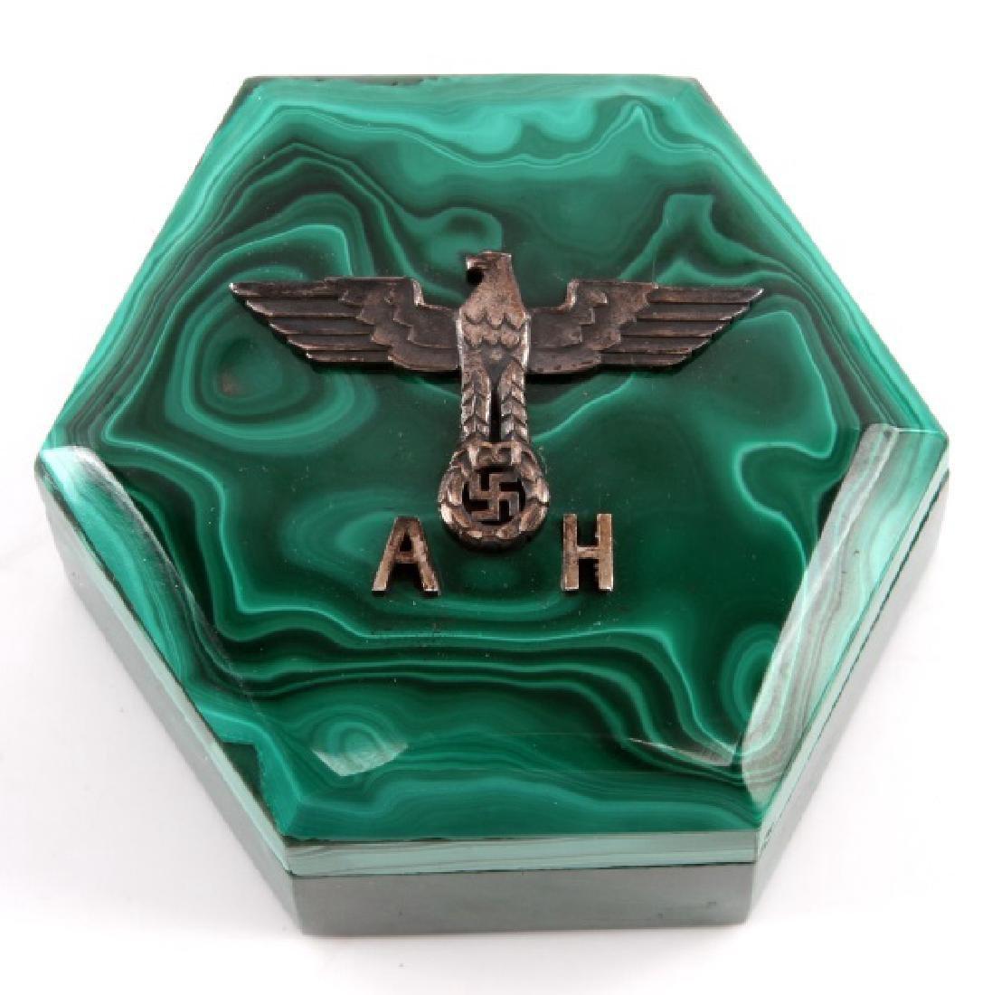 ADOLF HITLER MALACHITE TRINKET BOX GERMAN WWII