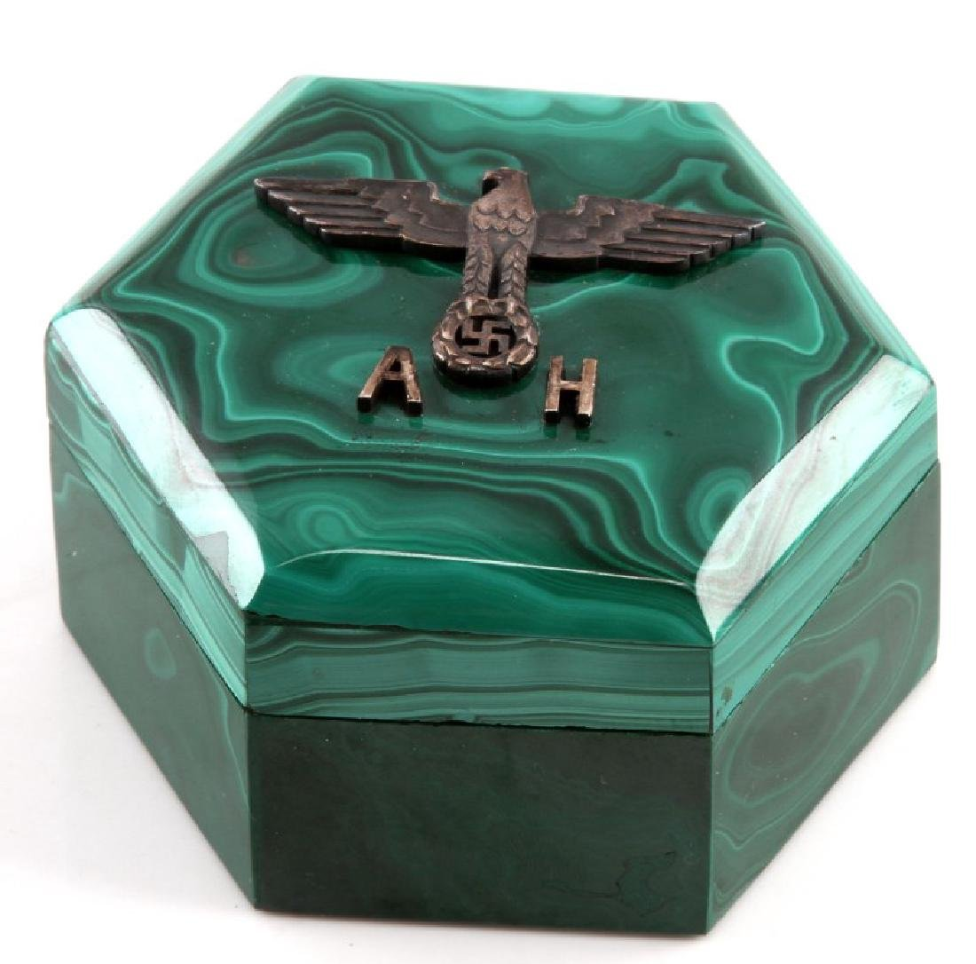 ADOLF HITLER MALACHITE TRINKET BOX GERMAN WWII - 2