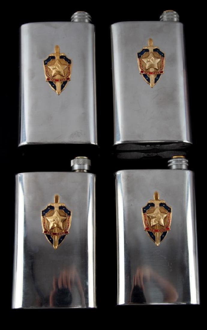 RUSSIAN USSR CCCP KGB DRINKING FLASK LOT OF 4