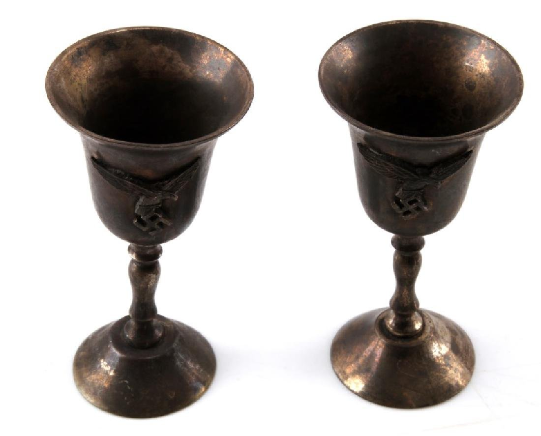 GERMAN WWII 2 LUFTWAFFE SMALL SILVER CHALICES