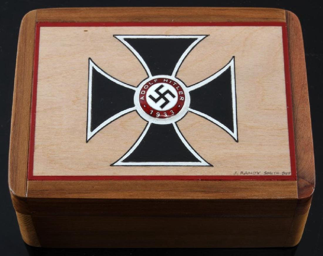 HAND PAINTED IRON CROSS CEDAR WOOD BOX W PARTY PIN
