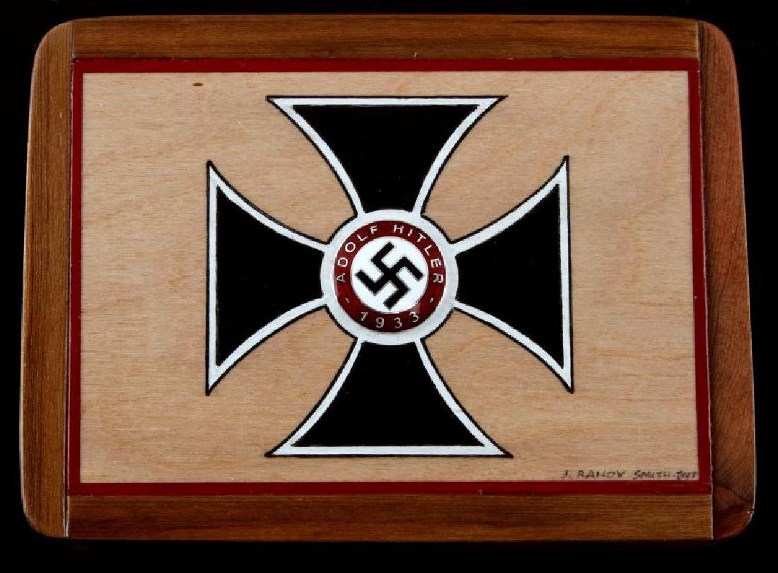 HAND PAINTED IRON CROSS CEDAR WOOD BOX W PARTY PIN - 2